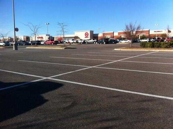 Twitter user ##http://usa.streetsblog.org/2013/12/02/scenes-of-half-empty-parking-lots-on-the-busiest-shopping-day-of-the-year/##@jmerdockphoto## took this shot of a Target in Southaven, Mississippi on the busiest shopping day of the year. #timetoendparkingminimums