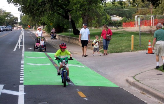 The Bluebonnet protected bike lane in Austin serves children riding to Zilker Elementary. Image: ##http://www.peopleforbikes.org/blog/entry/what-if-bike-comfort-is-more-important-than-bike-safety## People for Bikes##