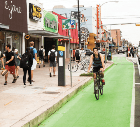 Guadalupe Street in Austin. Image: ###http://www.peopleforbikes.org/blog/entry/these-15-stories-show-exactly-how-great-bikeways-help-local-economies## People for Bikes##