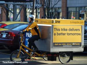 Delivery bikes like these aren't such a far-fetched solution to urban freight woes, but they do increase labor costs. Photo: ##http://teachabletravel.com/nicetown-a-new-nickname-for-portland-oregon/##Teachable Travel##