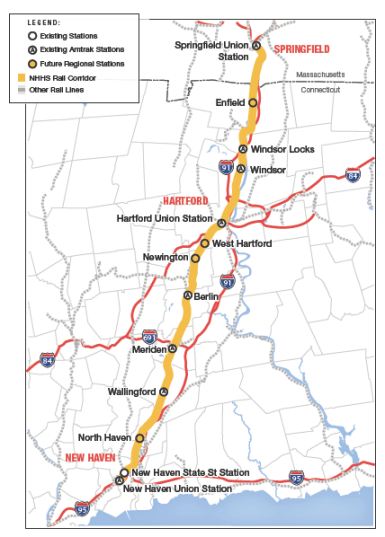 Central Connecticut is about to get a lot more friendly for bus and rail commuting. And the state is taking measures to make sure the right kind of housing is in place, as well. Image: NHHSrail