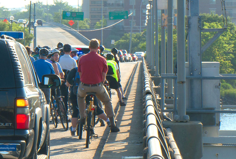 Bicyclists grown onto the Legare Bridge. Photo: Charleston Moves