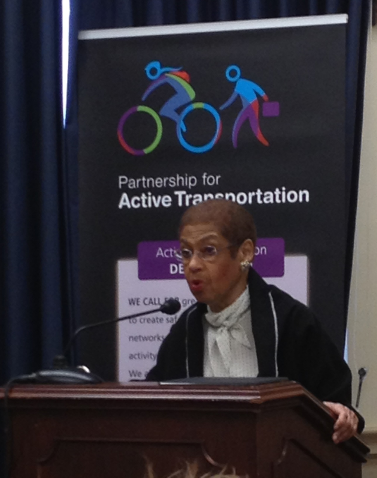DC Delegate Eleanor Holmes Norton helped introduce the new Partnership for Active Transportation today on Capitol Hill. Photo: Tanya Snyder