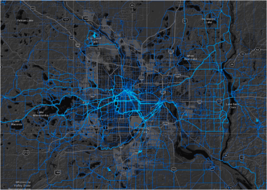 This ##Strava map shows that people run and ride bikes all over the Twin Cities area.