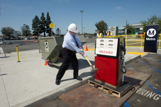 L.A. Metro Transportation Authority CEO Art Leahy smashing a gas pump yesterday. Photo courtesy of Gary Leonard, L.A. Metro