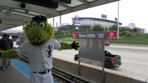 "Chicago White Sox mascot ""Southpaw"" at a train station. Photo courtesy of Chicago White Sox/MLB"