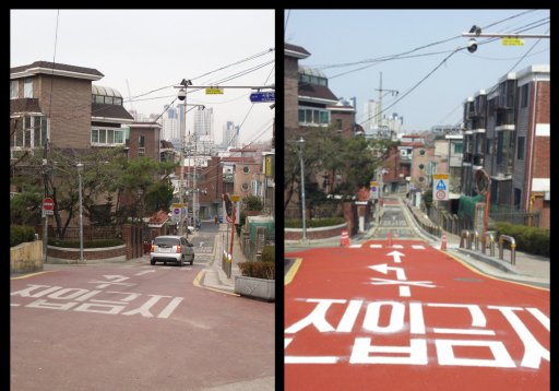 Near the Seoul Gumsan Elementary School in South Korea, before and after Model School Zone street treatments.