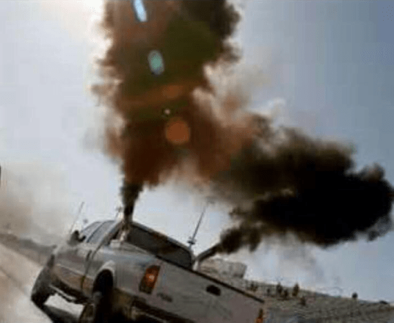 Rolling coal is super fun, if poisoning the planet and endangering everyone else on the road is your idea of fun. Photo: ##https://www.facebook.com/RollinCoalandRaisinHell/photos/pb.562903110418434.-2207520000.1404834615./578932172148861/?type=3&theater##Facebook/Rollin Coal and Raisin Hell##