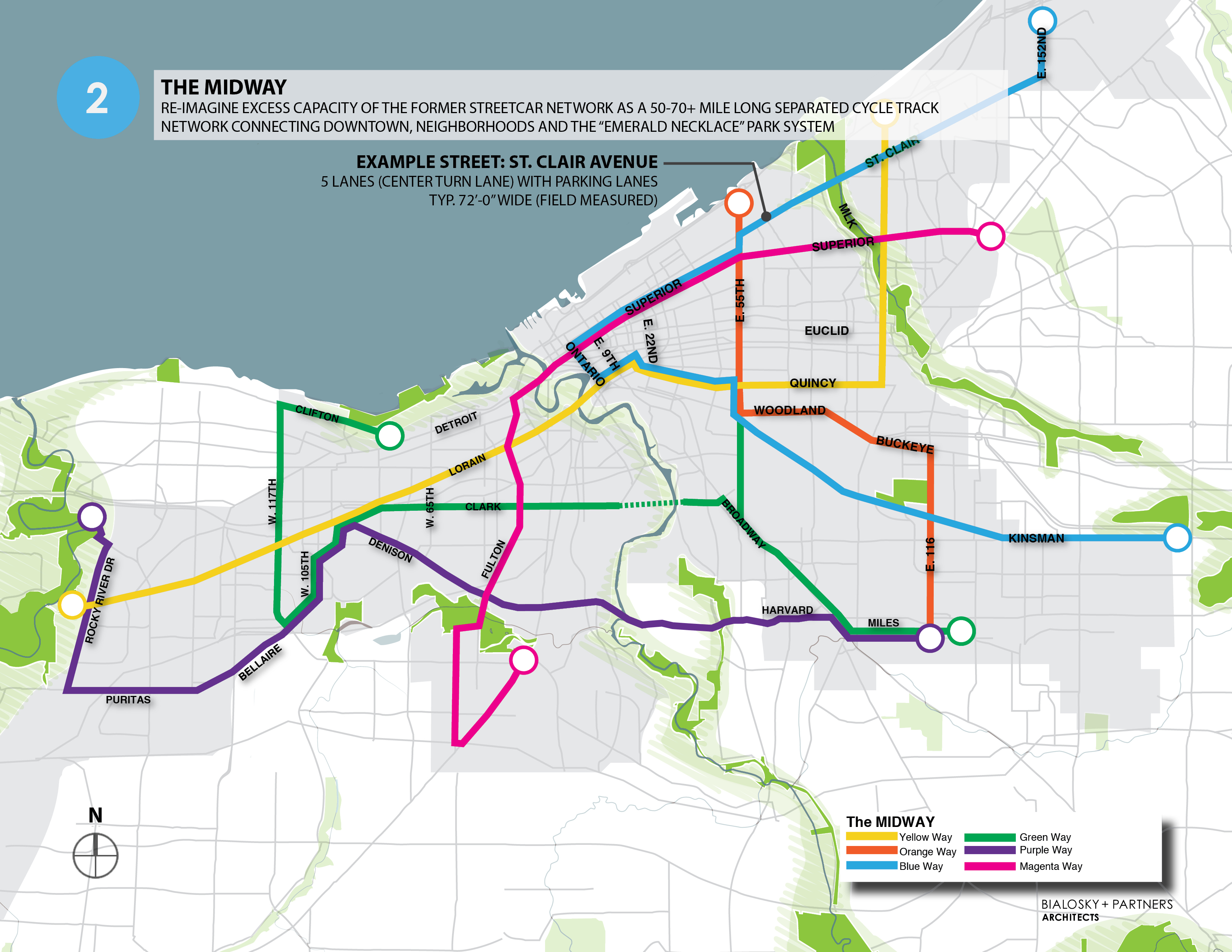Proponents envision 80 to 100 miles of protected bikeways. Click to enlarge. Map: Bialosky + Partners Architects