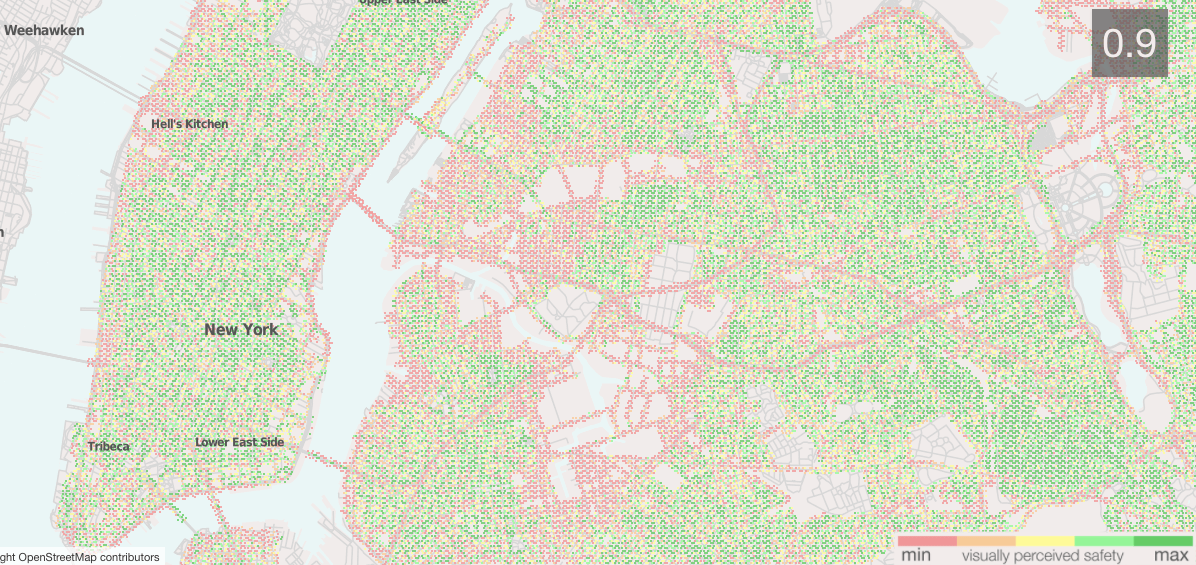 This map of perceived safety of New York City streets capes was developed using an algorithm by researchers at MIT. Click to use the interactive map.