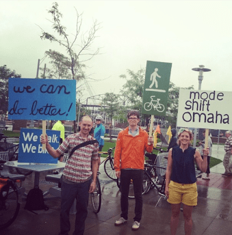 About 300 people braved rainy conditions to demand better bike and pedestrian accommodations this weekend in Omaha. Photo: Mode Shift Omaha