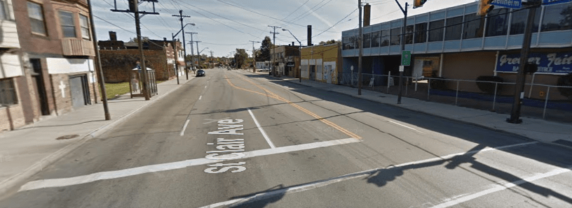 St. Clair Avenue in Cleveland was once bustling with activity, when it was a streetcar route. A group of Clevelandites wants to make it active again with bike infrastructure. Image: Google Maps