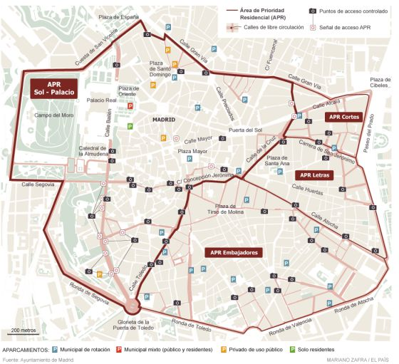 Drivers who don't live in the center city will no longer be able to drive through Madrid's core neighborhoods. Image: City of Madrid