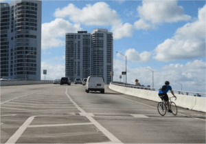 Markings were added to guide cyclists across tricky on-ramps. Photo: Miami-Dade MPO
