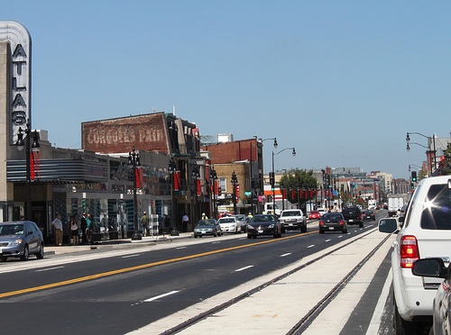 Bike lane or streetcar track? With rubber inserts, perhaps it could be both. Photo: DDOT via ##http://greatergreaterwashington.org/post/18791/bike-lanes-could-let-cyclists-avoid-h-street-streetcar-tracks/##GGW##