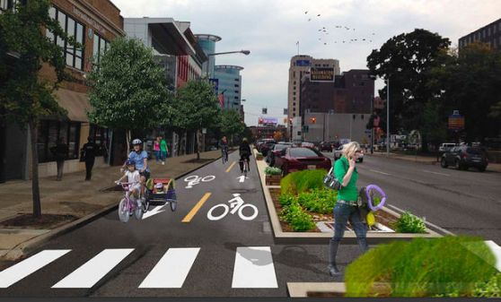 Part of Michigan Avenue in Kalamazoo will get a road diet and a new protected bike lane, under plans approved this week. Image: Alta Planning + Design via Mlive.com