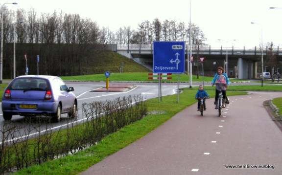 Dutch bike infrastructure is light years ahead of America's. But maybe it's their progressive policies on gender and family that have more to do with high rates of women biking. Photo: ##http://www.aviewfromthecyclepath.com/2012/01/campaign-for-sustainable-safety-not.html##A View from the Cycle Path##