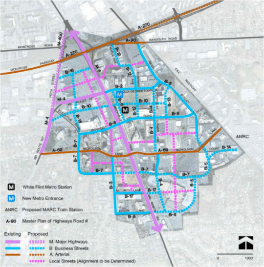 Existing and proposed street network for the new White Flint. Image: ##http://www.montgomeryplanning.org/community/whiteflint/documents/WhiteFlintSectorPlanApprovedandAdopted_web.pdf##White Flint Sector Plan##