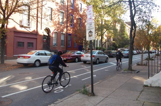 Eight years ago, the Bicycle Coalition of Greater Philadelphia challenged candidate Michael Nutter to build transformative, protected bike lanes, and he did. The Coalition's goal for the next mayor: Vision Zero. Photo: ##http://bicyclecoalition.org/our-campaigns/biking-in-philly/spruce-and-pine-street/#sthash.T6ljm6kF.dpbs##Bicycle Coalition##