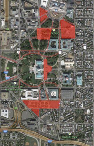Streets, lots, and garages reserved for US Capitol personnel parking.