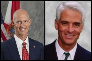 Florida Gov. Rick Scott (R), left, and former Gov. Charlie Crist (D), right, are neck-and-neck in the polls.