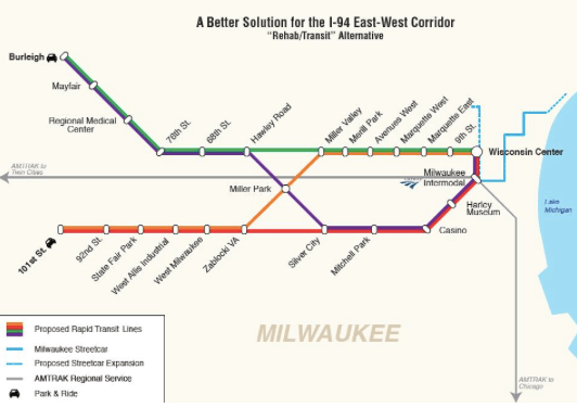 This concept design for an east-west corridor rapid transit system for Milwaukee was developed by a New Jersey DOT veteran for local advocates. Image: Wisconsin PIRG