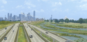 The $1.5 billion Trinity Toll road, given the watercolor treatment. Image: Army Corps of Engineers via Dallas Morning News