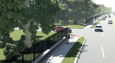 This rendering shows plans for a sidewalk on Riverside Drive. Image: Smart Growth Tulsa Coalition