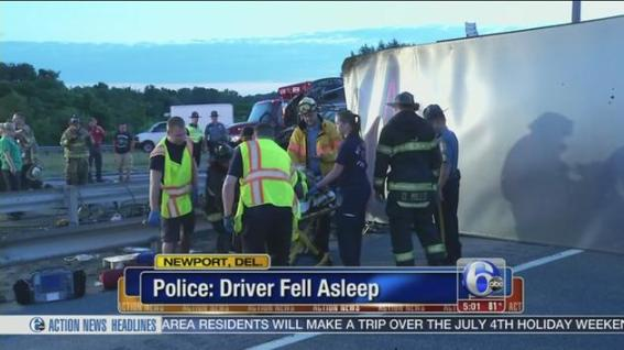 Truck crashes killed almost 4,000 people in 2012. Sen. Susan Collins wants to suspend a safety rule aimed at reducing that number. Screenshot from ##http://6abc.com/traffic/police-truck-driver-fell-asleep-prior-to-crash-on-i-95-in-del/144318/##6ABC##