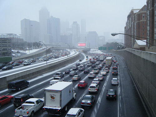 A few inches of snow turned Atlanta positively post-apocalyptic last winter.   Photo: ##http://atlurbanist.tumblr.com/post/75045650070/politico-looks-at-the-makings-of-atlantas-snow##ATLUrbanist##
