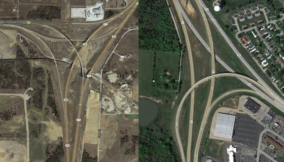These expensive flyovers in sprawling Missouri might not have been worth the expense to taxpayers. Maybe a broke MoDOT will help bring projects back down to earth. Image: NextSTL