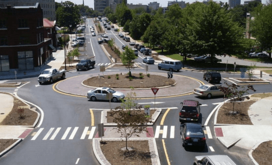 Part of Florida's safe streets strategy is implementing more roundabouts, like this one from Asheville, North Carolina. Photo: FDOT