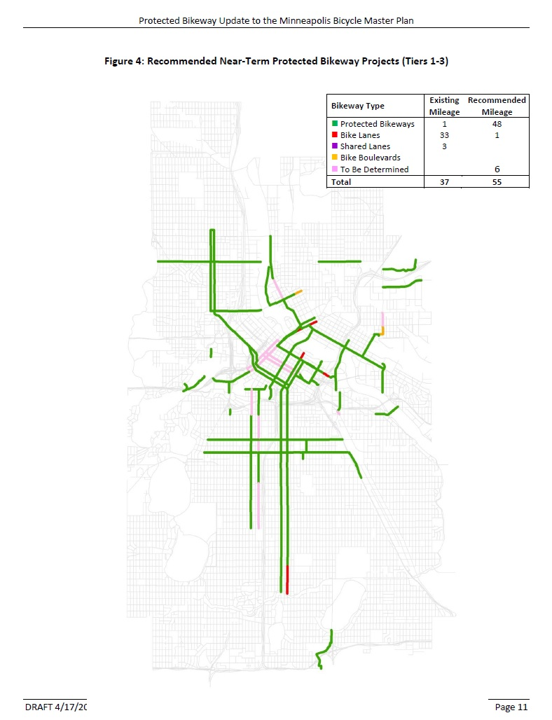Minneapolis is planning to construct 30 miles of protected bike lanes over the next 5 years. Image: City of Minneapolis