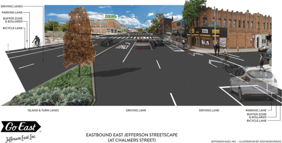 Detroit broke ground this week on its first protected bike lane. Image: Jefferson East Inc.