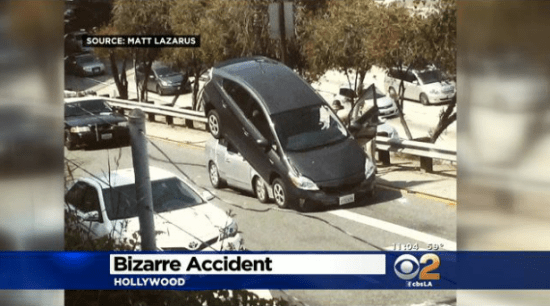 """A witness described seeing the driver of this Prius back up intentional over the other car, but CBS LA improperly persisted in referring to this as an """"accident."""" Image: CBS LA"""