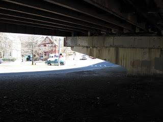 The Casey Overpass had gotten so ? that it was down to just two extremely potholed lanes. Photo: Arborwaymatters