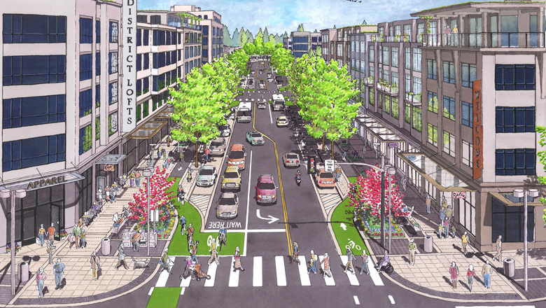 The insertion of a few little words will make the DRIVE Act a virtual complete streets policy for the entire National Highway System (except interstates). Photo: ##http://www.ca-city.com/complete_streets/fundamentals.html##Crandall Arambula##