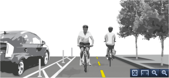 This image is from the FHWA's own ##http://www.fhwa.dot.gov/environment/bicycle_pedestrian/publications/separated_bikelane_pdg/separatedbikelane_pdg.pdf##Separated Bike Lane Planning & Design Guide## -- but these designs aren't endorsed by the agency's new rules.