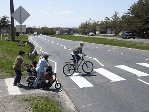 Virginia Department of Transportation installed these zig zag pavement markings to caution drivers about the potential for pedestrians and cyclists by a popular trail crossing. Photo: Virginia Department of Transportation