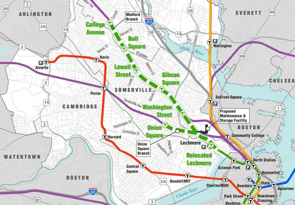 Boston's Green Line extension plans are up in the air following some major setbacks. Image: MassDOT