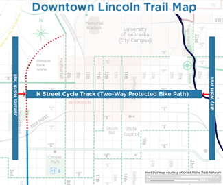 The N Street protected bike lane provides a link between two major trails. Image: Downtown Lincoln Association