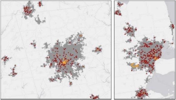 """Affordable"" housing units with excessively high transportation costs shown in red, and affordable transportation costs in yellow in the Atlanta area (left) and Detroit area (right). Map: University of Texas"