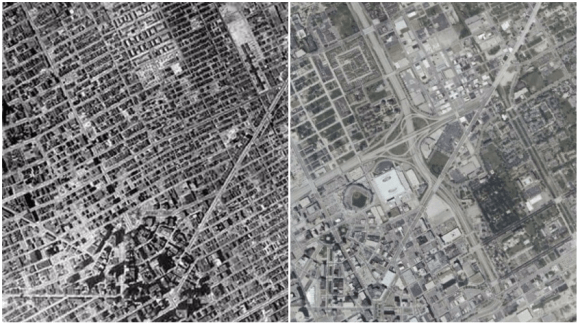Detroit in 1949 versus how it appears today. Images: AtDetroit.net via Streetsblog