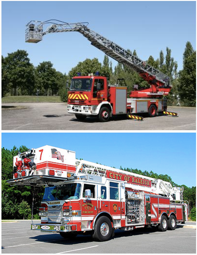 Side by side photos of a smaller European fire truck compared with an oversized American one. Photos: FireHouse.com