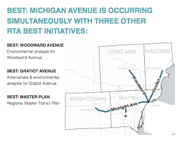 A large system of bus rapid transit would help connect Detroiters to suburban jobs -- if the region's voters approve funding this fall. Map: RTA Michigan