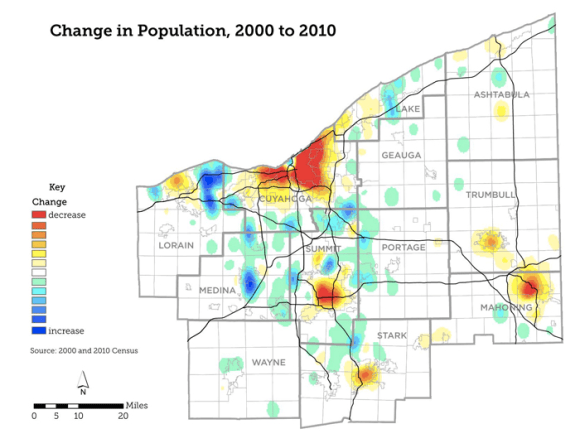 Northeast Ohio has been sprawling outward without adding overall population. The result is vacancy in urban areas. Map: NEOSCC
