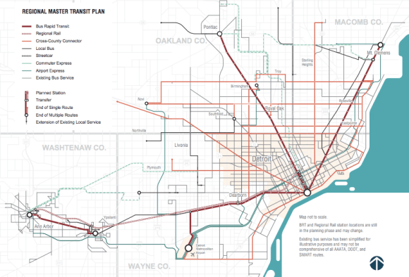 Detroit's regional transit plan. Map: Michigan
