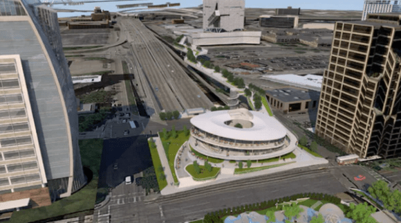 Dallas' vision for highway lid topped with a parking garage. Image: Woodall Rodgers Deck Park Foundation