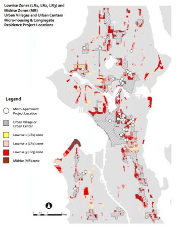 This map shows how small a potion of Seattle is zoned to allow anything denser than Single-family housing. Map: Seattle via Better Institutions