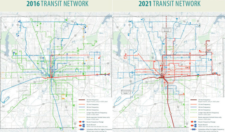 The Indy Connect Plan Would Dramatically Expand Frequent Transit Routes In Red Maps Indy Connect Click To Enlarge